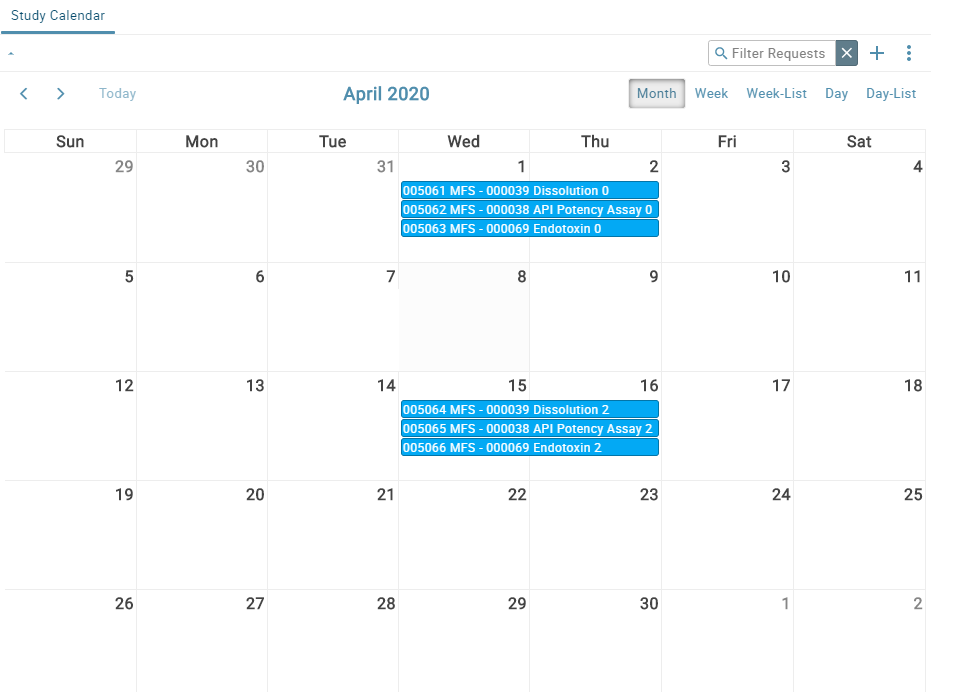 screenshot featuring a calendar view of studies