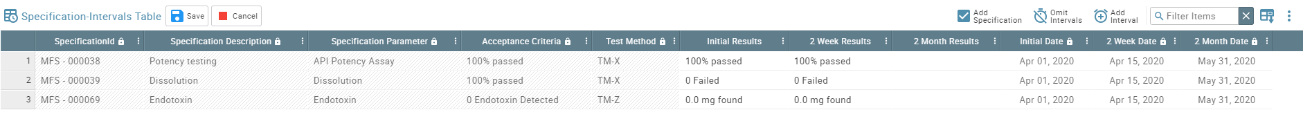 screenshot featuring a table of specification intervals